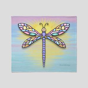 Pastel Dragonfly Throw Blanket