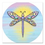 Pastel Dragonfly Square Car Magnet 3