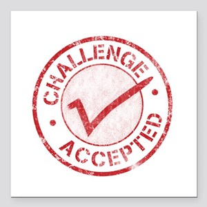 Challenge-Accepted-Round Square Car Magnet 3""