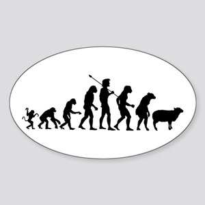 Evolution of Sheeple Sticker (Oval)