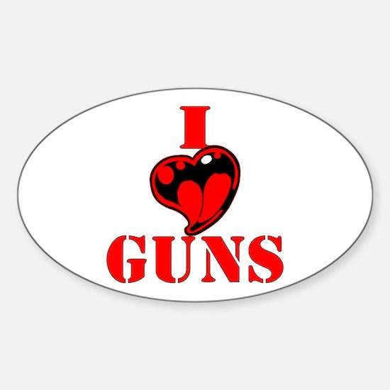 I (Heart) Love Guns Sticker (Oval)