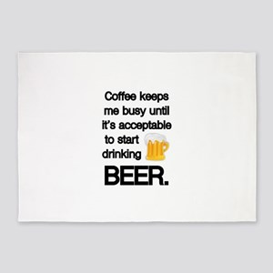 Coffee Until Beer 5'x7'Area Rug