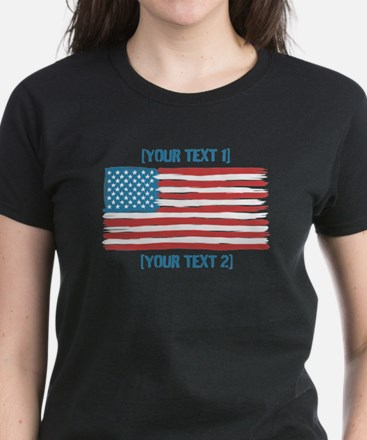 [Your Text] 'Handmade' US Flag Women's Dark T-Shir
