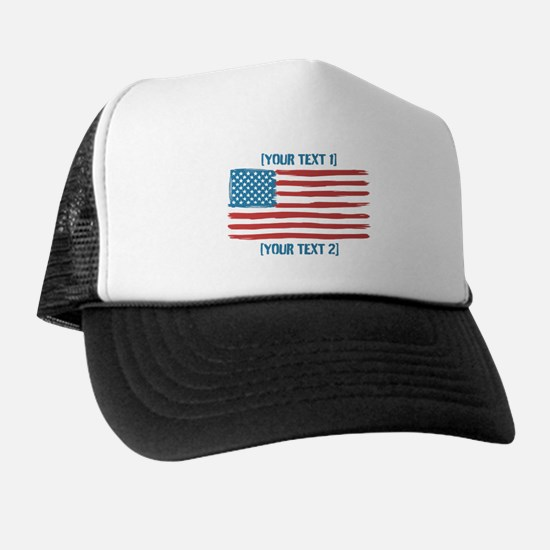[Your Text] 'Handmade' US Flag Trucker Hat
