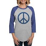 Blue Peace Sign Womens Baseball Tee