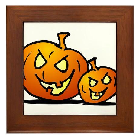 Two Halloween pumpkins Framed Tile