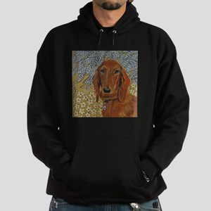 """Long Haired Dachshund"" Hoodie (dark)"