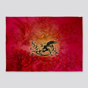 The dragon on vintage background 5'x7'Area Rug