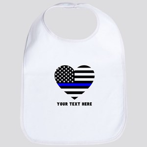 Thin Blue Line Love Cotton Baby Bib