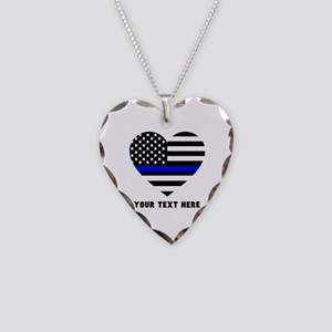 Thin Blue Line Love Necklace Heart Charm