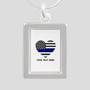 Thin Blue Line Love Silver Portrait Necklace