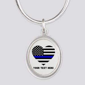 Thin Blue Line Love Silver Oval Necklace