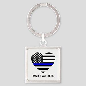 Thin Blue Line Love Square Keychain