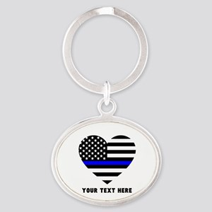 Thin Blue Line Love Oval Keychain