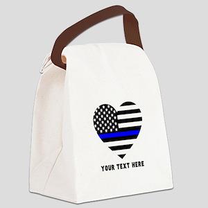 Thin Blue Line Love Canvas Lunch Bag