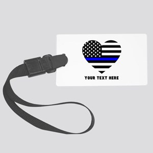 Thin Blue Line Love Large Luggage Tag