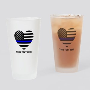Thin Blue Line Love Drinking Glass