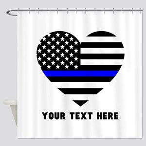 Thin Blue Line Love Shower Curtain