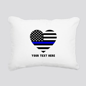 Thin Blue Line Love Rectangular Canvas Pillow
