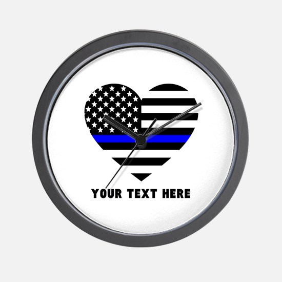 Thin Blue Line Love Wall Clock