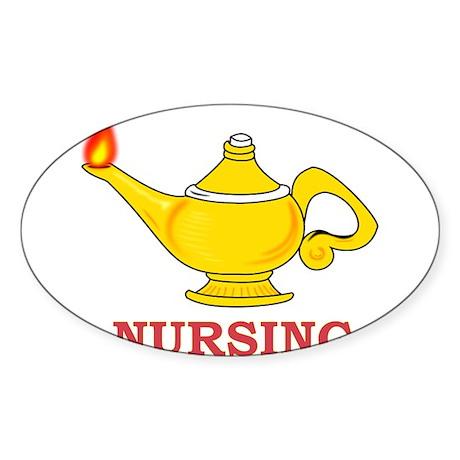 Nursing Lamp With Nursing Text Sticker (Oval)