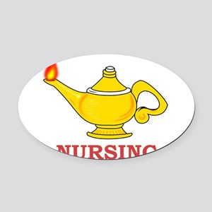 Nursing Lamp with Nursing Text Oval Car Magnet