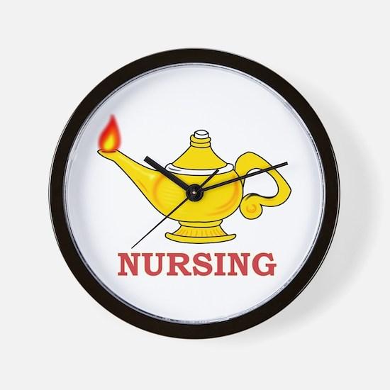 Nursing Lamp with Nursing Text Wall Clock