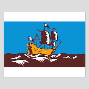 Tall Sailing Ship Retro Woodcut Small Poster