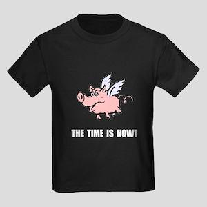 When Pigs Fly Kids Dark T-Shirt