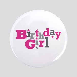 "Pink Birthday Girl Star 3.5"" Button"