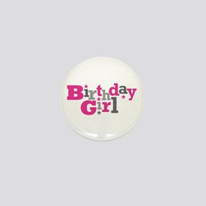 Pink Birthday Girl Star Mini Button