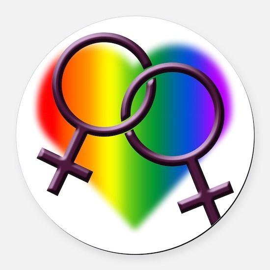 Rainbow Love Gay Pride Round Car Magnet