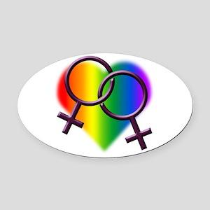 Rainbow Love Gay Pride Oval Car Magnet