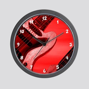 Red Abstract Guitar Wall Clock