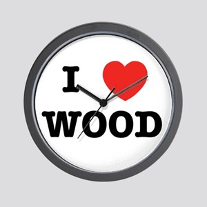 I Heart Wood Wall Clock
