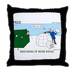 Winter Camping Throw Pillow