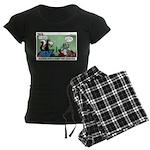 Skunk and Raccoon Snack Women's Dark Pajamas