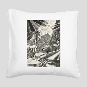 Jazz Drummer Square Canvas Pillow
