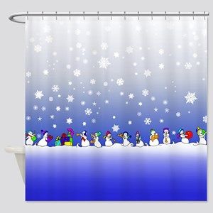 snowman band Shower Curtain