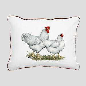 White Rock Chickens Rectangular Canvas Pillow