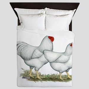 White Rock Chickens Queen Duvet