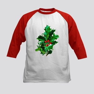Christmas Holly Kids Baseball Jersey