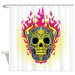 skull Dull Flames Shower Curtain