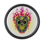 skull Dull Flames Large Wall Clock
