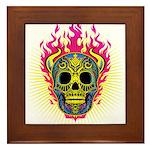 skull Dull Flames Framed Tile