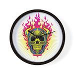 skull Dull Flames Wall Clock