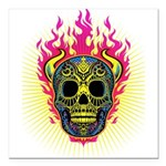 skull Dull Flames Square Car Magnet 3