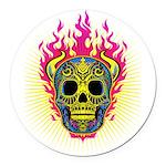 skull Dull Flames Round Car Magnet