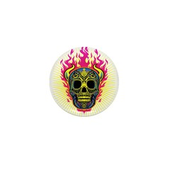 skull Dull Flames Mini Button (100 pack)