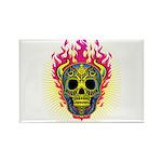 skull Dull Flames Rectangle Magnet (10 pack)